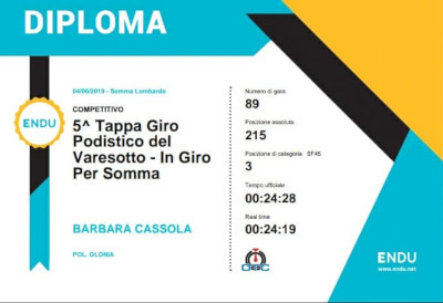 Barbara Cassola running time 6^ tappa GP Varesotto 2019