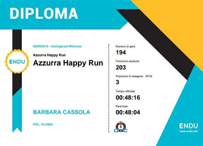 Barbara Cassola, Azzurra Happy Run 2019